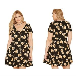F21 Plus Floral Button Up Skater Dress